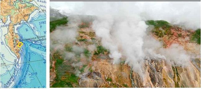 Долина гейзеров на полуострове Камчатка, Россия. Фотография долины и контур Кроноцкого заповедника на географической карте