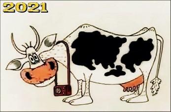 2021 - Год Коровы по восточному календарю; картинка с символом Нового года